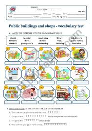 Vocab Building Worksheets Public Buildings And Shops Worksheet Vocabulary Building