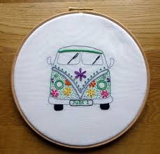 Embroidery Camper Designs Hand Embroidery Campervan Owl Heart Hand Embroidery