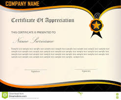 free templates for certificates of appreciation certificate of appreciation template stock vector illustration of
