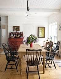 black windsor chairs. A Farmhouse Table With Black Windsor Chairs By Leila Is.