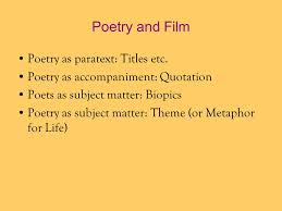 Quotation Poetry Ekphrasis In Reverse The Use And Abuse Of Poetry In Popular Films
