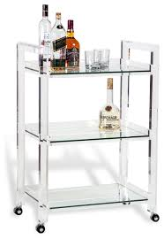 Pennington Modern Acrylic and Glass Serving Bar Cart modern-bar-carts