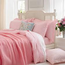 pink gingham duvet set with white pillowsham pink gingham bed linen