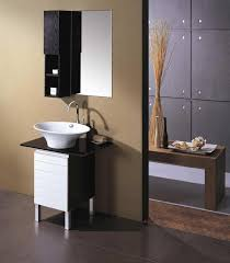 redoubtable small vanity with white bowl sink and floating black cabinet as decors in modern interior