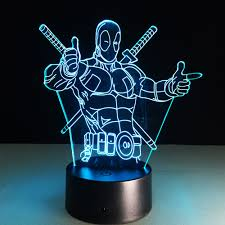 creative led lighting. Deadpool 3D Led Table Lamp Night Light Colorful Acrylic USB LED Lighting Creative Action Figure