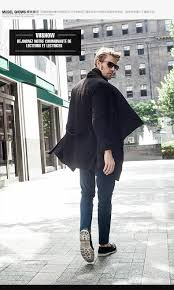 viishow 2016 men trench coat winter long black trench coat men chic inclined single ted jacket