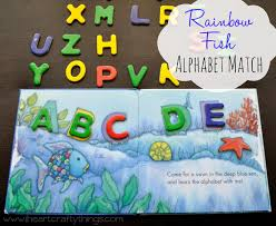 rainbow fish a b c book at my library last week there isn t much text in it at all it s basically a review of the abc s in order on each page