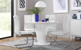 gallery paris white high gloss round dining table and 4 chairs