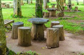 furniture made from tree stumps. Stock Photo - Stumps Seats In The Park, Garden Furniture Made From Wooden Log Tree C