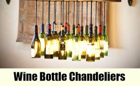 cut the bottom of the wine bottles and use a lamp kit to convert it into a lamp hang the neck of the bottles with the ropes to the roof