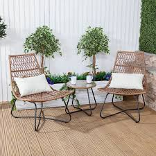 polynesian rattan bistro outdoor garden table chairs set with cushions 1 of 7free see more