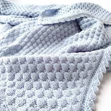 Light Blue Baby Blanket Soft Baby Blanket For Boy Knitted Merino Wool Baby Blanket