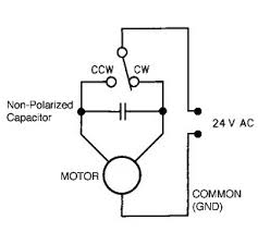 az el rotor control direct ac power is fed to one leg of the motor and the other leg is fed out of phase power thru the non polar capacitor this determines which direction