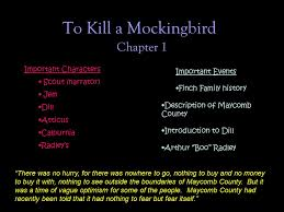 To Kill a Mockingbird Chapter 1 Important Characters Important ...