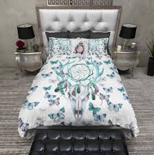 Dream Catcher Crib Bedding Blue Green Dreamcatcher Butterfly Buck Deer Skull Bedding Ink 41