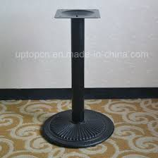 strong black metal single leg round dining table base sp mtl153