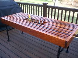 Beer Cooler Coffee Table Cedar Outdoor Table With Built In Wine Beer Cooler With Pipe