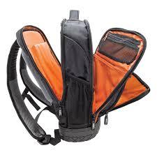 klein tools 55603 25 pockets zipper tablet backpack 1680d ballistic weave black orange 14 inch