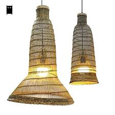 wicker hanging light bamboo wicker rattan pendant light fixture rustic hanging ceiling lamp home dining tea