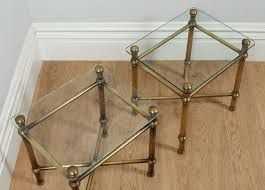 pair of art deco style brass glass side tables antique side tables