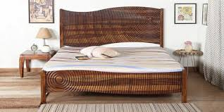 wooden furniture design bed. Espiral Solid Wood King Size Bed In Provincial Teak Finish Wooden Furniture Design N