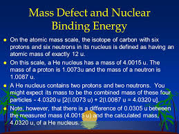 mass defect and nuclear binding energy l on the atomic mass scale the isotope of