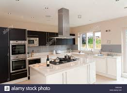 fitted kitchens. New Modern Fitted Kitchen In Large House, England, UK - Stock Image Kitchens