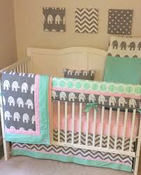 lovely pink and mint elephant baby girl crib bedding set baby girl elephant crib bedding sets alphonnsine com