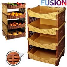 4 tier rattan plastic vegetable fruit rack basket kitchen storage shelves