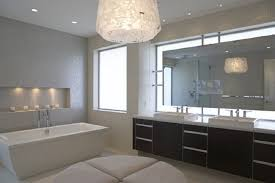 beauty modern bathroom lighting with huge lamp at the ceiling added with brown wooden cabinets and bathroom modern lighting