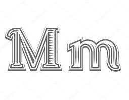 Písmo Tetování Gravírování Písmeno M Stock Vektor