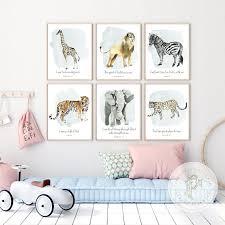 5% coupon applied at checkout. Jungle Animals Wall Art Kid S Bible Verse Wall Art Safari Animal Prints Baby Boy Nursery Wall Art Nursery Decor Scripture Wall Art