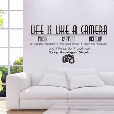 Creative office wall art Office Interior Design Unique Creative Removable Life Is Like Camera Quote Wall Stickers Decals Home Office Study Mural Interactifideasnet Wall Decals For Home Office Interactifideasnet