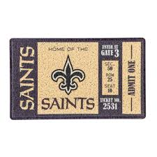 new orleans saints 30 in x 18 in vinyl indoor outdoor turf floor mat