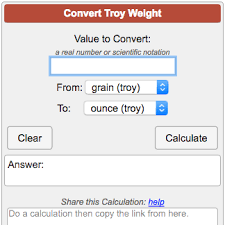 Precious Metal Weight Conversion Chart Troy Weight Conversion Calculator