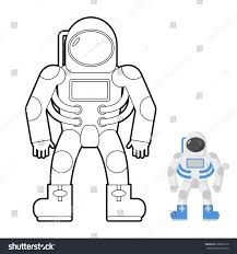 Astronaut Coloring Book Vector Illustration Space Stock Vector