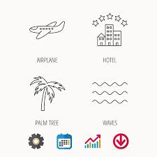Download Palm Chart Airplane Waves And Palm Tree Icons Hotel Linear Sign Calendar