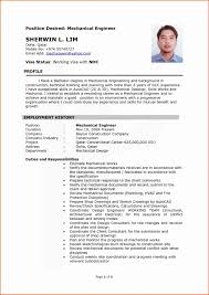 Resume Format For Engineering Freshers Pdf Unique Mechanical