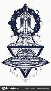 Létání Loď Ufo Tetování Umění Letu Nových Galaxií Výzkumy Vesmíru