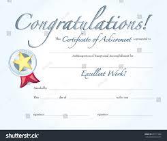 Congratulation Certificate Congratulations Certificate Achievement Silver Medal Stock Vector