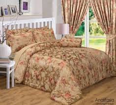 king size anastasia duvet cover set gold fl luxury jacquard rose bedding