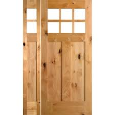 unfinished front doorKrosswood Doors 53 in x 81625 in Craftsman 3 Panel 6Lite Knotty