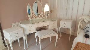 french antique style bedroom dresser set with mirror stool and matching pair of side