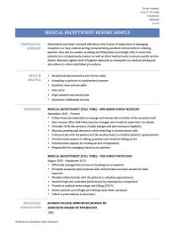 Sample Medical Receptionist Resumes Medical Receptionist Resume Samples Templates And Tips