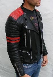 vtg leather biker cafe racer jacket red black mens 36 small rockabilly bobber
