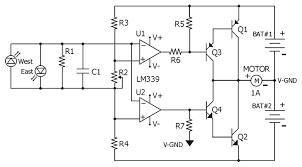circuit diagram for the lm quad comparator based sun tracker circuit diagram for the lm339 quad comparator based sun tracker