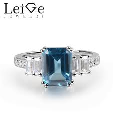2019 leige jewelry london blue topaz ring emerald cut blue gemstone g setting 925 sterling silver for women engagement ring from chunyushi