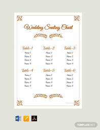 Free Simple Wedding Reception Seating Chart Template Pdf