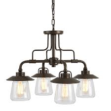 allen roth bristow 24 02 in 4 light mission bronze rustic clear glass shaded
