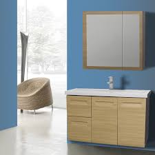 Iotti IN40 By Nameek's Integral 40 Inch Wall Mounted Natural Oak Delectable Inset Bathroom Cabinets Interior